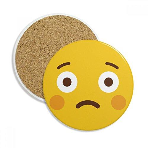 Shy Yellow Cute Online Emoji Stone Drink Ceramics Coasters for Mug Cup Gift 2pcs