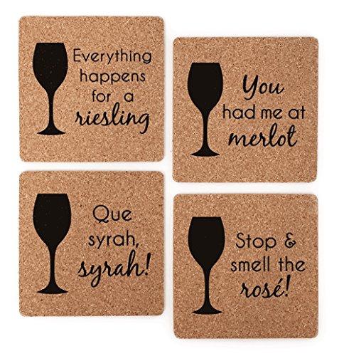 Wine Themed Coasters - Wine Lover Gift Cork Coaster Set - Wine Varietal Puns Merlot Syrah Riesling Rose