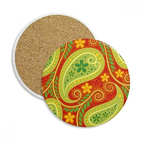 Printing Repeat Cloth Colorful Leaf Art Stone Drink Ceramics Coasters for Mug Cup Gift 2pcs
