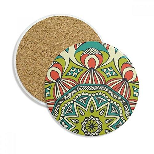 Printing Repeat Cloth Green Colorful Art Stone Drink Ceramics Coasters for Mug Cup Gift 2pcs