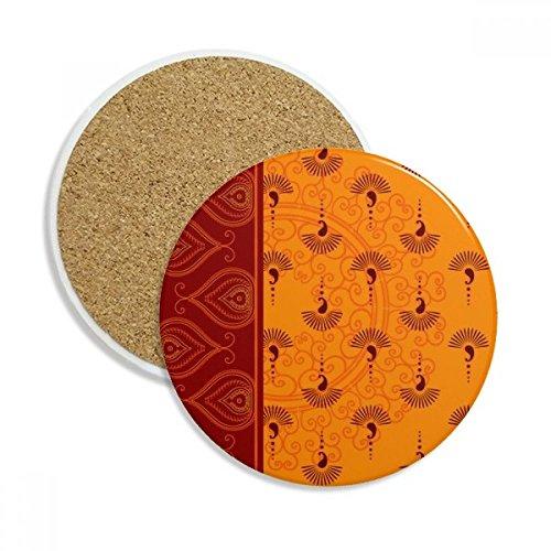Printing Repeat Cloth Orange Colorful Art Stone Drink Ceramics Coasters for Mug Cup Gift 2pcs