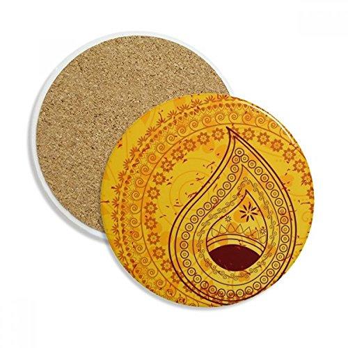 Printing Repeat Cloth Yellow Colorful Art Stone Drink Ceramics Coasters for Mug Cup Gift 2pcs