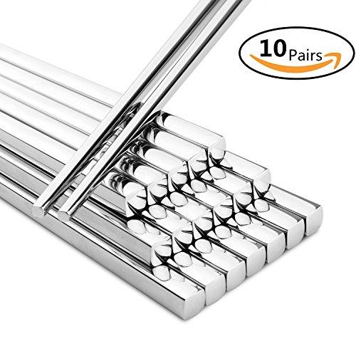 20Pcs Household 304 Stainless Steel Chopsticks Square Heat Stainless Steel Chopsticks Hotel Restaurant Stainless Steel Chopsticks 10pair