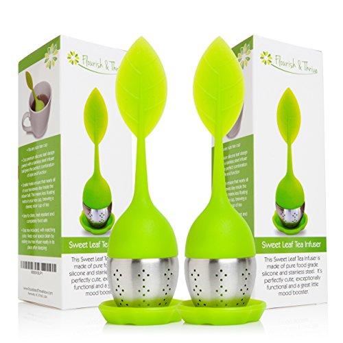 Loose Leaf Herbal Tea Infuser Strainer Scoop 2-pack multipack gourmet gift set - 2 Green