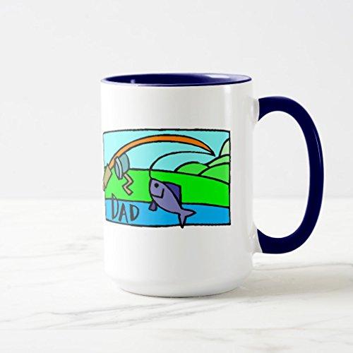 Zazzle Fishing Fathers Day Frosted Beer Mug Navy Blue Combo Mug 15 oz
