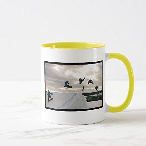 Zazzle Snowboarding Tricks Frosted Beer Mugs Yellow Combo Mug 11 oz