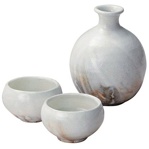 Japanese Ceramic Shigaraki ware Kohikiyouhen sake tokkuri bottle and 2 guinomi cups 3-1601