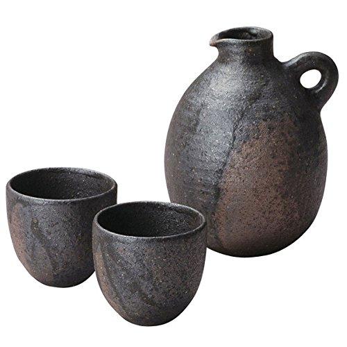 Japanese Ceramic Shigaraki ware Sabi ibushi sake tokkuri bottle and 2 guinomi cups 3-1602