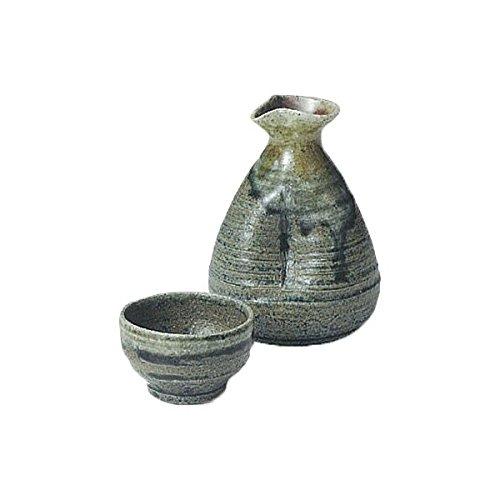 Japanese Ceramic Shigaraki ware Set of Sake tokkuri bottle server and guinomi cup Akuryu 3-1207