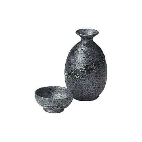 Japanese Ceramic Shigaraki ware Set of Sake tokkuri bottle server and guinomi cup Galaxy 3-1227