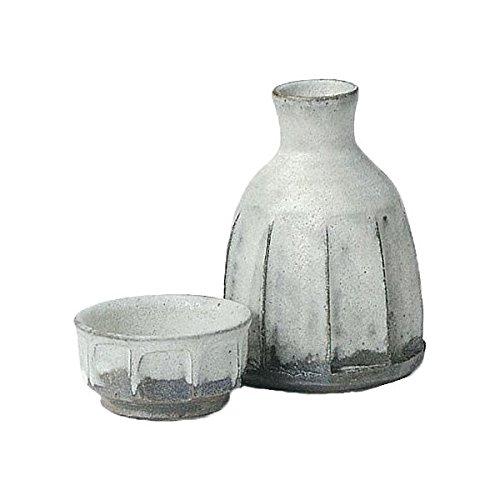 Japanese Ceramic Shigaraki ware Set of Sake tokkuri bottle server and guinomi cup Geppaku shinogi 3-1203