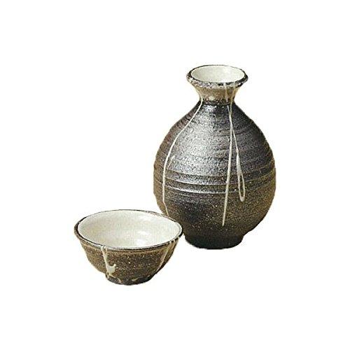 Japanese Ceramic Shigaraki ware Set of Sake tokkuri bottle server and guinomi cup Ibushi icchin 3-1217