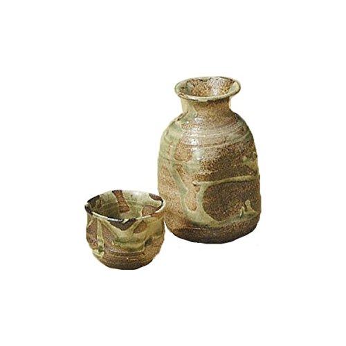 Japanese Ceramic Shigaraki ware Set of Sake tokkuri bottle server and guinomi cup Koshigaraki 3-1229