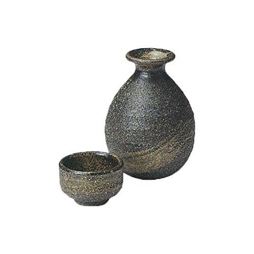 Japanese Ceramic Shigaraki ware Set of Sake tokkuri bottle server and guinomi cup Kurogaki 3-1215