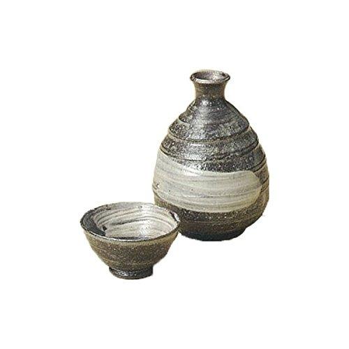Japanese Ceramic Shigaraki ware Set of Sake tokkuri bottle server and guinomi cup Kuroiso 3-1225