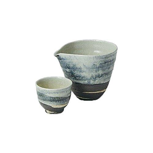 Japanese Ceramic Shigaraki ware Set of Sake tokkuri bottle server and guinomi cup White ruri 3-1249