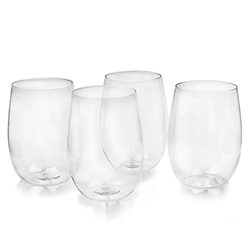 Eightnight 16oz450ml TRITAN Reusable Unbreakable Durable Red White Wine Cocktails Shakes Ice Cream Juices Stemless Glass for Home Offices Restaurants Bars Weddings Parties Set of 4