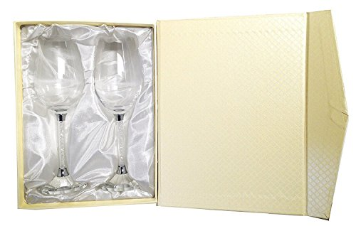 Amlong Crystal Wine Glass with Crystal Diamond Stemware set of 2