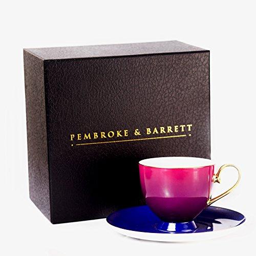 Pembroke Barrett Bone China Gold Rim Tea Cup and Saucer Set Dusk