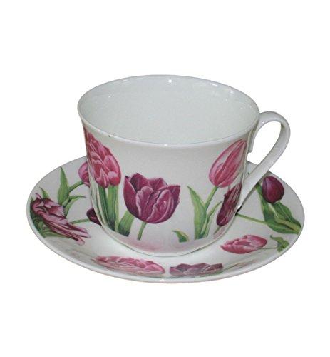 Roy Kirkham Tulip Garden Breakfast Teacup and Saucer Set Fine Bone China
