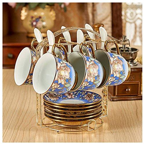 Bone China Coffee Cups Lover Couple Mugs Ceramic Tea Cup Saucer Set Advanced Porcelain Mug For Gift Set of 6 38