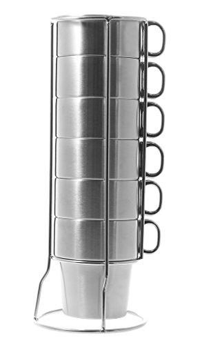 JustNile CoffeeTea Cup Set w Rack - Set of 6 Double Walled Stainless Steel