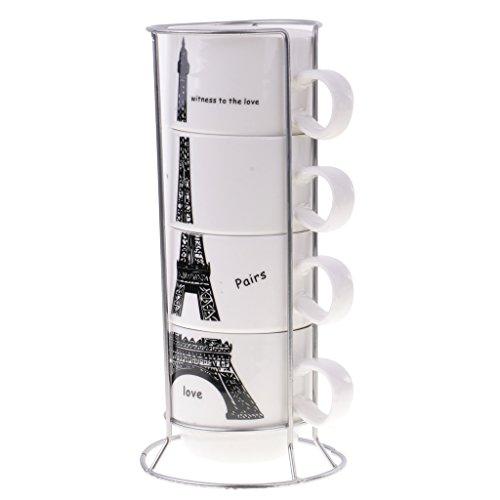 MagiDeal Paris Eiffel Tower Stacking 4 In 1 Coffee Tea Cups Set Overlap Ceramic Mugs
