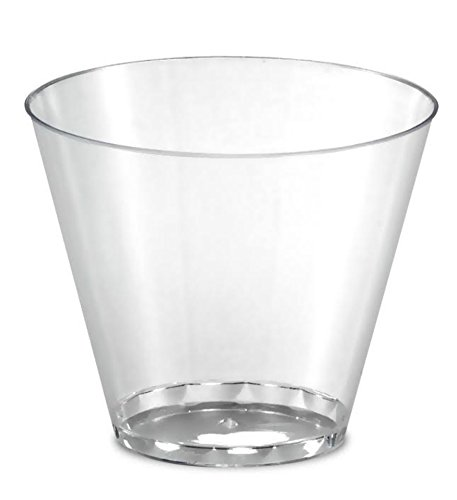 100 Hard Plastic Tumblers 9 Ounce Party Cups 9oz Tumbler Cups Glasses Crystal Clear Rock Tumblers Old Fashioned Glasses 9 oz Tumbler Glass 100 Disposable Drinking Glasses