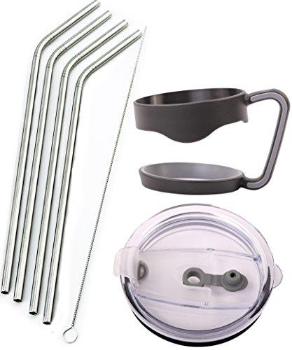4 Bend Stainless Steel Straws Extra LONG fits 30 oz 20 oz Yeti Tumbler Rambler Cups - CocoStraw Brand Drinking Straw 4 Straws  Straw Lid  Handle 30oz