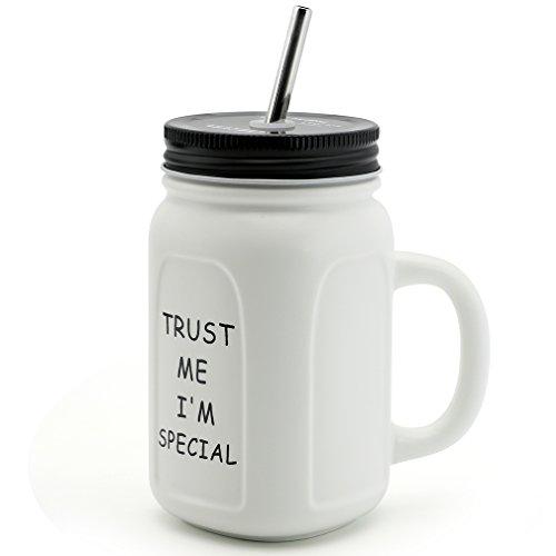 Asmwo Cute Mason Jar Mug Square Iced Coffee Tea Mug Inspirational Quote Ceramic Mug with Handle Tin Lid Stainless Steel Straw Gift Mug for Women Men 14 Ounce White-C