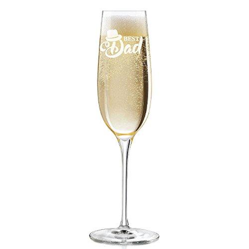 Best Dad Hat Engraved 8 oz Champagne Flute - 2pcs set