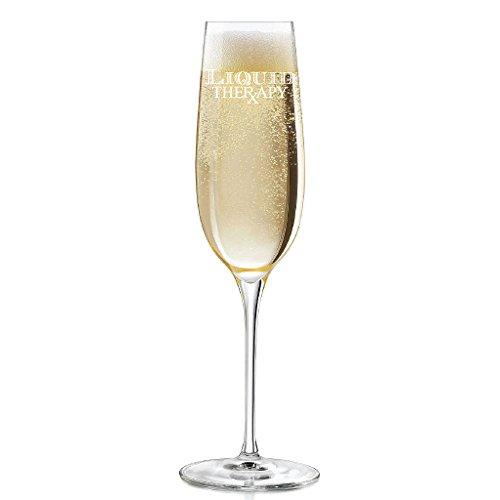 Liquid Therapy Engraved 8 oz Champagne Flute - 2pcs set