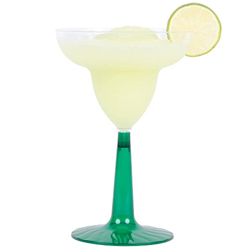 24 Count CLEAR  Green 12 oz Disposable Plastic Margarita Glass Flairware w Signature Party Picks