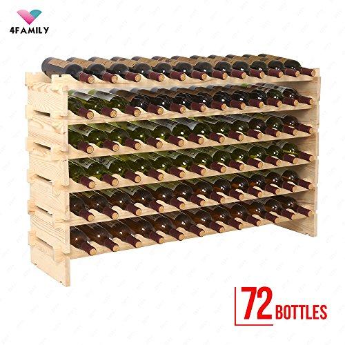 4 Family 72 Bottles Holder Wine Rack Stackable Storage 6 Tier Solid Wood Display Shelves