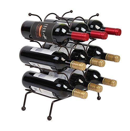 Finnhomy 9 Bottle Wine Rack Wine Bottle Holder Free Standing Wine Storage Rack Iron Brozen