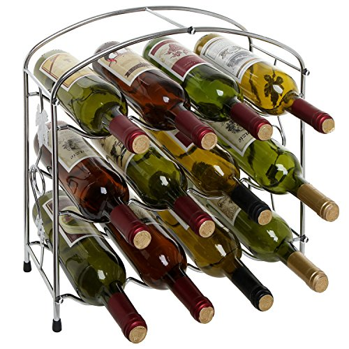 Modern Grapevine Silver Chrome Plated Freestanding 12 Bottle Wine Storage Shelf Rack  3-Tier Wine Holder