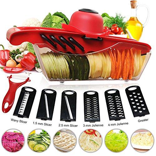 Mandolin Slicer - Vegetable Chopper 12 in 1 Multi-functional Grater Vegetable Cutter Sets Food Container Shredders Slicers Sets Vegetable Shredder