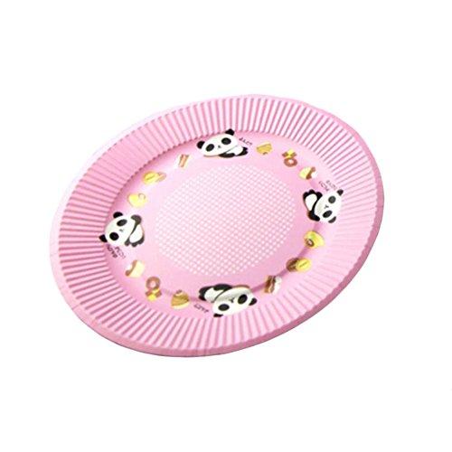 10PCS Disposable Paper Plates Environmental Cake Platters 7 Dessert Container Panda Pink