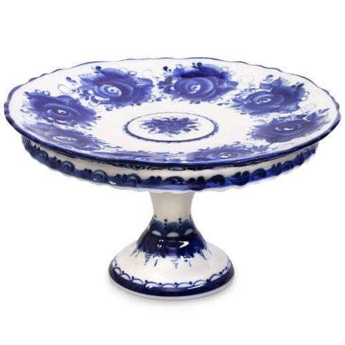 Gzhel Porcelain Cake Platter