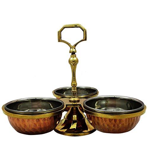 AVS STORES Copper Pickle Set of 3 Bowls Kitchen Serveware