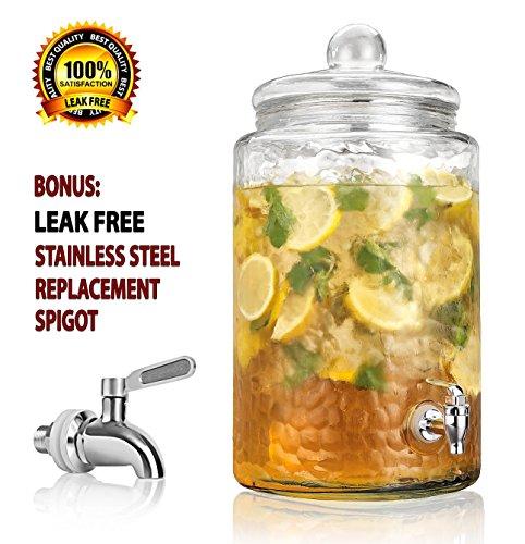 Durable Hammered Glass Large Beverage Dispenser - 3 Gallon Drink Jug - Stainless Steel Leak Free Spigot Included - Home Bar Party Serveware