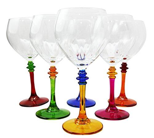 Italian Import Party Hosting Multi Color 14oz Wine Glass Set of 6 Cocktail Serveware