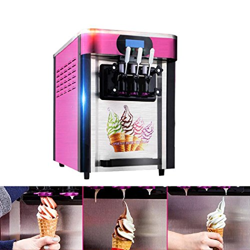 ixaer Ice Cream Makers Soft ice cream making machine with 3 flavors Desktop small automatic drum ice cream machine without Refrigerant 110V