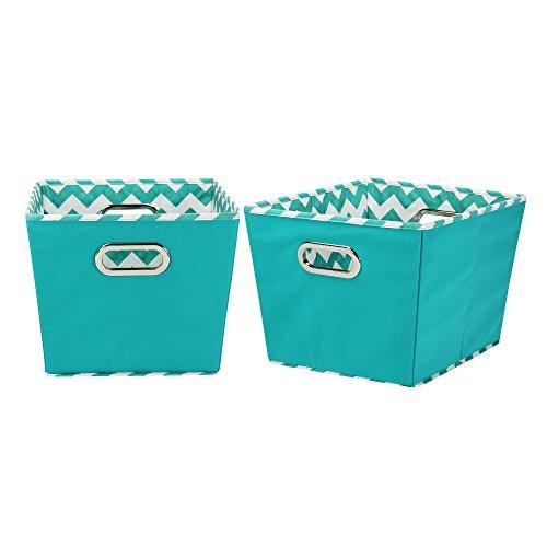 Household Essentials Medium Tapered Decorative Storage Bins 2 Pack Set Aqua  Chevron