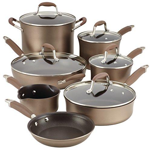 Anolon 12-Piece Advanced Hard-Anodized Nonstick Cookware Set Bronze