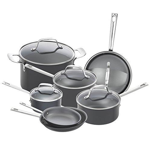 Emeril Lagasse 62920 Dishwasher safe Nonstick Hard Anodized 12 Piece Cookware Set Gray