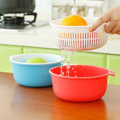 Kitchen Double Plastic Drain Basket Lid Multi Wash Fruit Basket Drain Basket Vegetables Drainage Sieve