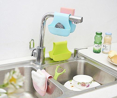 Kitchen Sponge Holder - 1 Piece Creative Kitchen Sink Sponge Storage Bag Drain Saddle Dual Drain Basket Racks Sundries Organizer - Sink Sponge Holder - RANDOM COLOR