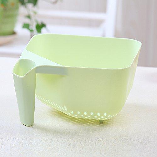 Kitchen vegetables basin drain basket plastic fruit basket Wash rice and vegetables basketgreen
