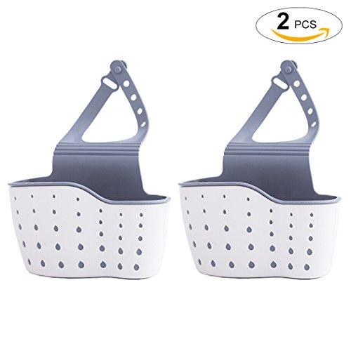 Sink Holder Outgeek 2Pcs Kitchen Hanging Drain Basket Sink Sponge Holder Sink Caddy Organizer